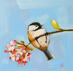 chickadee and apple blossoms original bird and flower oil painting by moulton 6 x 6 inches prattcreekart