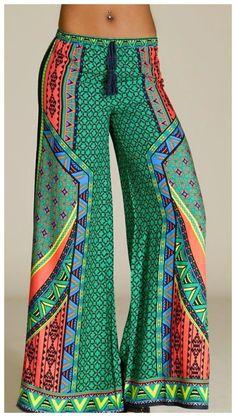 Flying Tomato Tahiti Green Printed 70s Boho Hippie Vintage Palazzo Pants $59   eBay