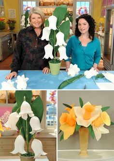 Oh Martha...crepe paper daffodils & lily of the valley - if it's a girl, the Lily of the Valley would be perfect for a birthday party or something. :)