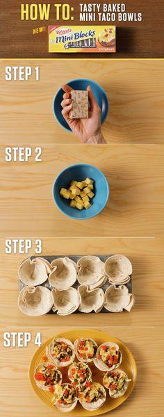 How to make Tasty Baked Mini Taco Bowls? Just take one 4oz. VELVEETA Mini Blocks and you're only 30 minutes away from taking tacos to the next level. For more Mini Block recipes visit http://www.kraftrecipes.com/velveeta/main.aspx