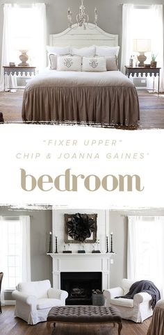 """""""Fixer Upper"""" Chip and @Joanna Gaines' bedroom is perfection. We love how chic and elegant it looks with the mix of neutral colors."""