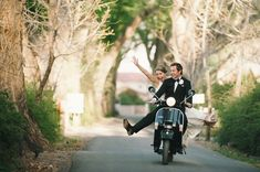 We asked Jen about things they love to do together so we could help them make their wedding portraits more meaningful. They love riding their scooter, a vintage-styled Stella, so Glenn drove it over to Los Poblanos the morning of their wedding. Wedding Cape, Black Tie Wedding, Dream Wedding, Vespa Wedding, Jennifer Black, Metallic Wedding Cakes, Wedding Trends, Wedding Ideas, Diy Wedding