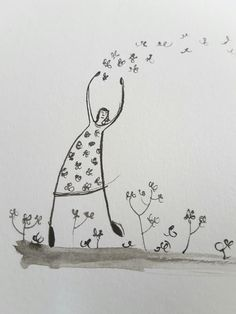 Flying away flowers by Becky Crawford,  brush and ink drawing. www.myspacefruit.com www.etsy.com/shop/spacefruit