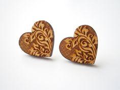 Laser Cut Wood Heart Earrings, Engraved Vintage Ornament,  Medium Size Cute Stud Earrings. $9.95, via Etsy.