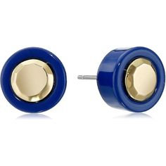 Marc by Marc Jacobs Blue Depths Metal Kandi Circle Stud Earrings ($40) ❤ liked on Polyvore featuring jewelry, earrings, circle jewelry, metal earrings, blue jewelry, stud earring set and metal jewelry