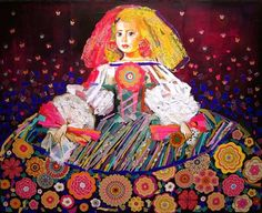 mixed media collage acrylic painting Infanta Margarita - Quilting Daily