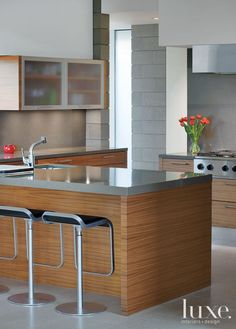 Streamlined, sleek design with  a focus on functionality is the key to a modern kitchen.