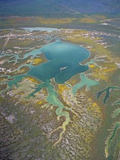 Aerial view of dozen lakes   Aerial View of the Carrizo Plain and the Wetlands of Soda Lake ...