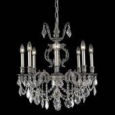 "Elegant Lighting 9508D24PW/SS Marseille Collection Dining Room Hanging Fixture D24"" x H26"" Pewter Finish (Swarovski Spectra Crystal)"