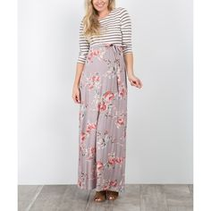 PinkBlush Maternity Mocha Floral Stripe Tie-Waist Maternity Maxi Dress ($35) ❤ liked on Polyvore featuring maternity