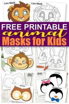 Free Printable Animal Masks for Kids - Simple Mom Project Animal Masks For Kids, Face Masks For Kids, Animals For Kids, Jungle Animals, Animal Mask Templates, Printable Animal Masks, Jungle Crafts, Animal Crafts For Kids, Kids Activities At Home