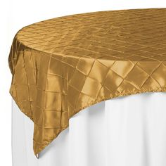 60 x 60 Gold Pintuck Table Overlay | www.SmartyHadAParty.com