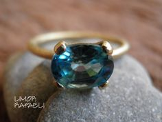 Ready to ship for Valentine's Day, Engagement Ring, Natural Zircon Ring, Blue Minimalist Ring, Vintage Inspired, Gold Ring, Statement Ring by Limorafaeli on Etsy https://www.etsy.com/listing/212251257/ready-to-ship-for-valentines-day