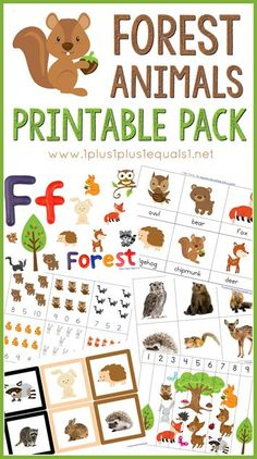 Free Forest Animals Printable Pack ~ great for Tot School, Preschool and Kindergarten!