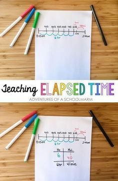 """Elapsed time is such a tricky concept to teach in a way that students understand. Another pinner said, """"There are a variety of methods and strategies for teaching elapsed time, but using a number line really helps my students be successful. Math Strategies, Math Resources, Math Activities, Math Games, Comprehension Strategies, Reading Comprehension, Fourth Grade Math, Second Grade Math, Grade 3"""