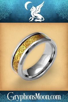 """Golden Viking Dragons Ring - Take a closer look-- that eye-catching golden stripe down the center of this ring is actually populated with a bevy of finely detailed Celtic beasties. Cast in stainless steel, with gold ion plating, this ring is both beautiful and durable. The band measures just over 1/4"""" wide. Please visit our website to see our full range of beautiful and unusual jewelry. #Celtic #CelticRing #CelticJewelry #MansRing #CelticDragon #Viking #VikingJewelry Viking Dragon, Celtic Dragon, Viking Warrior, Viking Jewelry, Men's Jewelry, Dragon Ring, Great Father's Day Gifts, Celtic Rings, Unusual Jewelry"""