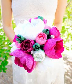 40 Alternative Wedding Bouquets (PHOTOS) | #alternative #bouquet #bouquets #bride #creative #flowers #non-traditional | 39 - alternative wedding bouquets - large crepe paper bouquets by JJFlowersAndCrafts