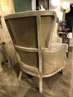 Yosemite Exposed Frame Wingback Chair | The Alley Exchange Wingback Accent Chair, Accent Chairs, Trim Nails, Light Beige, Upholstery, Rustic, Decorating, Wood, Frame