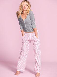 The Dreamer Henley Pajama (flannel) in Grey & pink stripe