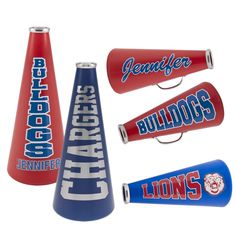 Sports-Cheerleading pep block LOT OF 8 Cheerphone Megaphone  WITH WHITE CAP