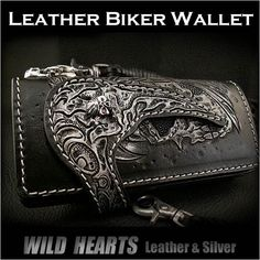 Custom Hand Skull Carved Leather Wallet/Biker Wallet/Stingray/Silver Concho WILD HEARTS Leather&Silver  http://item.rakuten.co.jp/auc-wildhearts/01wb17/