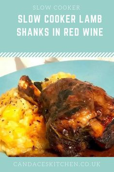 Recipe for slow cooker lamb shanks in red wine served with mashed root veg Lamb Shanks Slow Cooker, Braised Lamb Shanks, Lamb Recipes, Slow Cooker Recipes, Cooking Recipes, Dinner Recipes, Savoury Recipes, Crockpot Recipes, Lamb Dishes