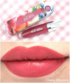 Hard Candy Velvet Mousse Matte Lip Color. Results: long-lasting and surprisingly comfortable (and great case!). Cherry Blossom here is a bit pinker than I'd prefer. I want to try the darker shades!