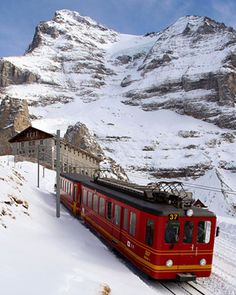 "Here's the famous Jungfrau train that can either drop you off half way up the mountain (for skiing) or take you (for a pretty steep extra fee) up to the top of the Jungfrau (or ""Top of Europe"").  Either way, the train ride is spectacular."