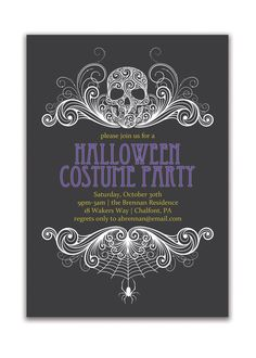Halloween Party Invitation Adult Costume Party Invitation Gothic Skull Spider Grown Up Invitation DIY Digital or Printed- Brennan Style. $18.00, via Etsy.