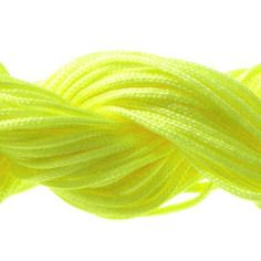 Lot 5m cordon nylon spécial shamballa jaune fluo 1mm