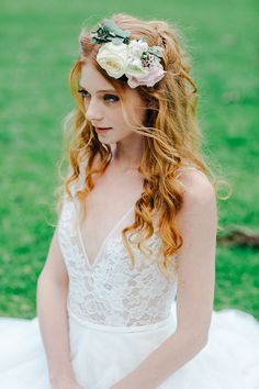 Romantic curled half up half down wedding hair with pastel flower crown | Lee Calleja Thomas Photography