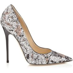 Jimmy Choo ANOUK Silver and Ballet Pink Painted Coarse Glitter Fabric... (885 CAD) ❤ liked on Polyvore