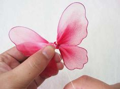 Handmade Nylon Stocking Butterfly Instruction from New Sheer Creations Nylon Crafts, Wire Crafts, Ribbon Crafts, Fabric Crafts, Handmade Flowers, Diy Flowers, Fabric Flowers, Paper Flowers, Butterfly Crafts