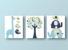 Nursery art prints, baby nursery decor, nursery art, Bird, elephant, tree, giraffe, blue green, navy, Set of 3, 8x10 prints from Paris...for all my pregnant friends! haha