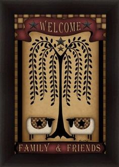 Amazon.com: Welcome Family & Friends by Carrie Knoff Country Primitive 15x21 in Framed Art Print Picture: Posters & Prints