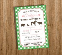 DIY Printable Modern Farm Birthday Party Invitation - Modern Farm Invite - You choose the colors. $15.00, via Etsy.
