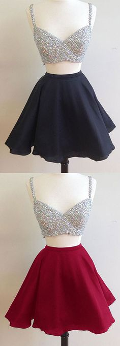 Two Piece Homecoming Dresses Two Sets Prom Dresses Short,Shinning Beads Black Graduation Dresses Dresses Short, Hoco Dresses, Trendy Dresses, Cute Dresses, Beautiful Dresses, Fashion Dresses, Formal Dresses, Homecoming Dresses 2017, Graduation Dresses