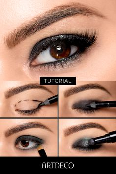 Ein dunkles Augen Make-up mit rauchiger Note, einfach nachgeschminkt A smoky eye make-up with irresistible eyes meets radiant glitter effects. Find out here how you put on the festive eye make-up, explained step-by-step with pictures and video. ▶ up Make Up Art, Eye Make Up, How To Make, Dark Eye Makeup, Smokey Eye Makeup, Silvester Make Up, Eyeliner, Kajal, Make Up Tricks