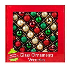 Glitter, Matte and Shine Glass Ornaments, 40-Pack