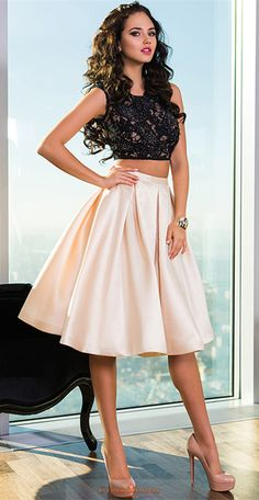 Prom Dresses Two Pieces Knee Length Backless Satin Item Code: #CMDPLYAFL9H