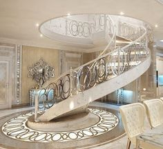 Beautiful #WhiteandGold Luxury Interior Design with Amazing #SpiralStaircase