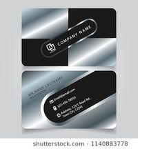 Creative premium silver black name card and business car silver creative premium silver black name card and business card with horizontal curve corner standard size vector reheart Choice Image