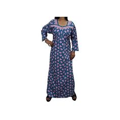 Indiatrendzs Women's Full Sleeve Cotton Nighty Sleepwear Night Gown... ❤ liked on Polyvore featuring intimates, sleepwear and nightgowns