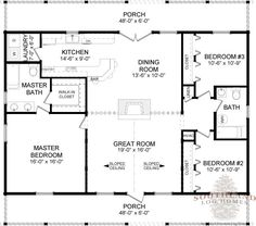 Elevated log cabin floor plan I like the French Doors from the