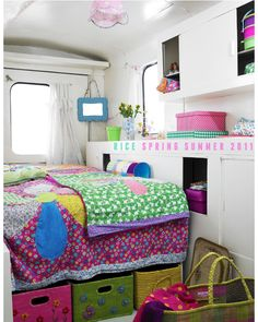 colorful camper interior  Looks like it could be the crafty camper :)