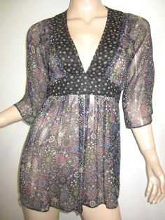 ODILLE 100% Silk Chiffon Sheer Floral Print Belted Top 6