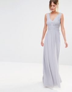 Image 1 of Little Mistress Plunge Front Chiffon Maxi Dress