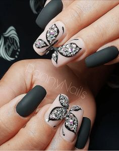 "Find out even more info on ""acrylic nail art designs rhinestones"". Check out our site. Black French Nails, Black Nail Art, Butterfly Nail Designs, Butterfly Nail Art, Acrylic Nail Tips, Gel Nail Art, Black Nail Designs, Cute Nail Designs, Nail Swag"
