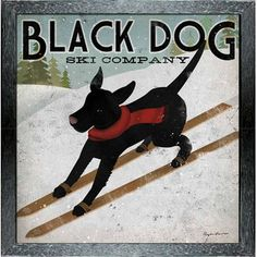 'Black Dog Ski Company' by Ryan Fowler Framed Vintage Advertisement