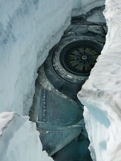 Melting glacier revealing what? ## Not sure if this a genuine image, but sure does look very intriguing!!